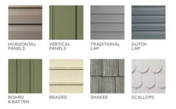 Vinyl siding styles using different profiles textures for Type of siding board