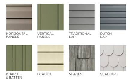 The different types and styles of vinyl siding.