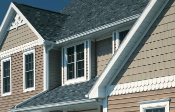 certainteed cedar impression double 7 perfection shingles in natural clay color used on upper gables of the house - Clay Siding Pictures Of Houses