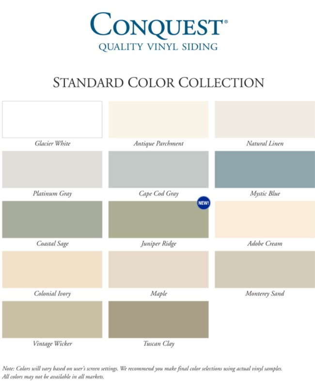 Conquest Economy Vinyl Siding Colors Click Here To Enlarge